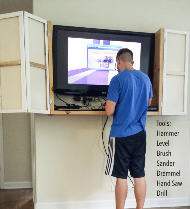 Diy wall mounted tv cabinet the stroller chronicles for Wall mounted tv enclosure
