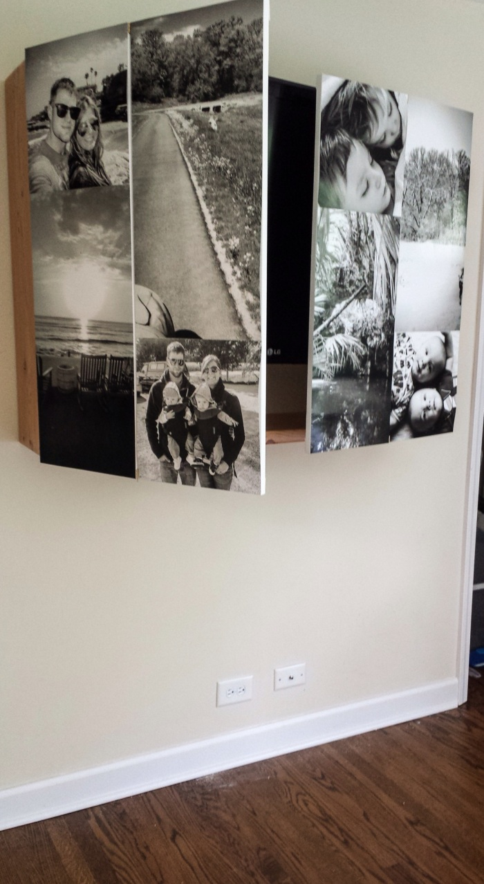 tv wegwerken achter foto's